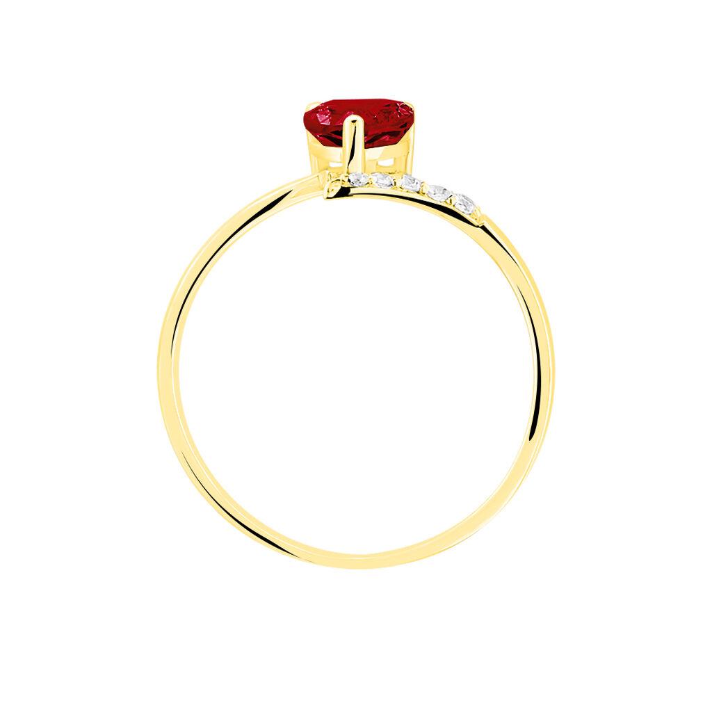 Bague Eva Or Jaune Grenat Et Diamant - Bagues Coeur Femme   Histoire d'Or