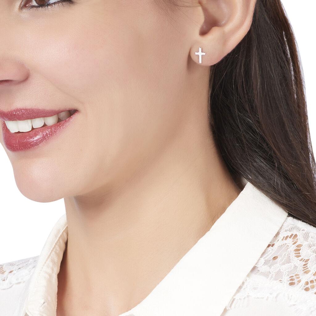 Boucles D'oreilles Puces Gaiana Argent Blanc - Boucles d'Oreilles Croix Femme   Histoire d'Or