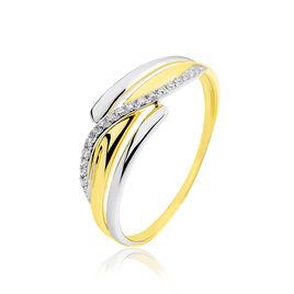Bague Bodil Or Bicolore Et Diamant  - Bagues avec pierre Femme | Histoire d'Or