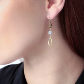 Boucles D'oreilles Pendantes Chayana Or Jaune Strass - Boucles d'oreilles pendantes Femme | Histoire d'Or