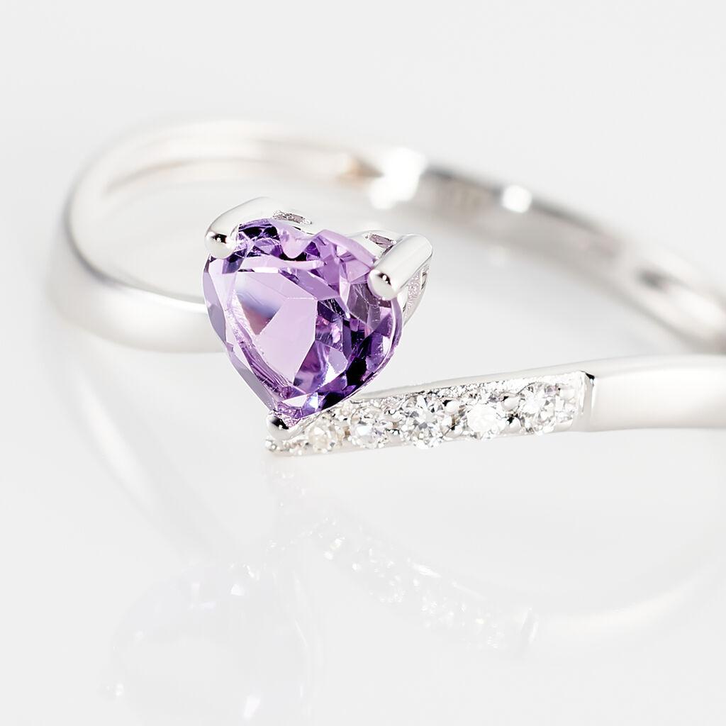 Bague Eva Or Blanc Amethyste Et Diamant - Bagues Coeur Femme | Histoire d'Or