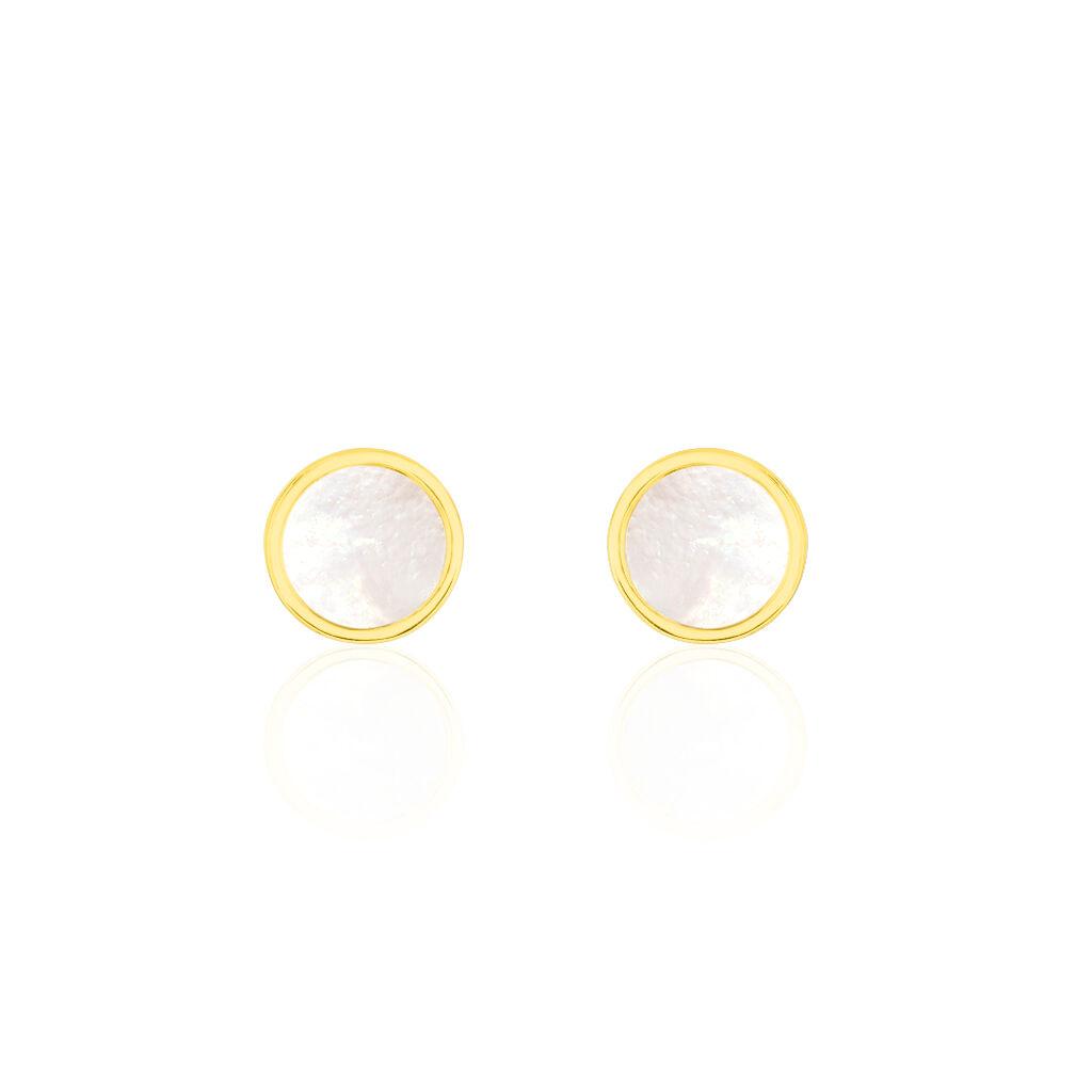 Boucles D'oreilles Puces Joana Or Jaune Nacre - Clous d'oreilles Femme | Histoire d'Or
