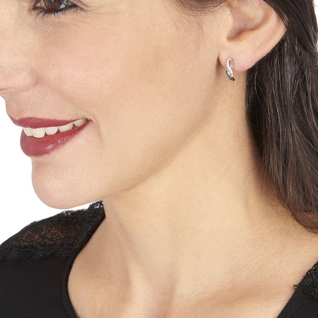 Boucles D'oreilles Puces Callune Or Blanc Diamant - Boucles d'Oreilles Lune Femme | Histoire d'Or