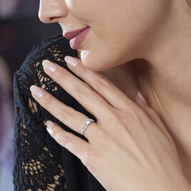 Bague Fina Or Blanc Oxyde De Zirconium - Bagues solitaires Femme | Histoire d'Or