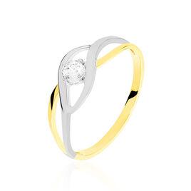 Bague Croise Or Bicolore Oxyde De Zirconium - Bagues avec pierre Femme | Histoire d'Or