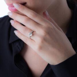 Bague Solitaire Oval Or Blanc Oxyde De Zirconium - Bagues solitaires Femme | Histoire d'Or