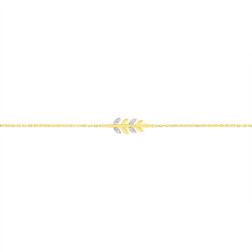 Bracelet Emeralda Or Jaune Diamant - Bracelets Plume Femme   Histoire d'Or