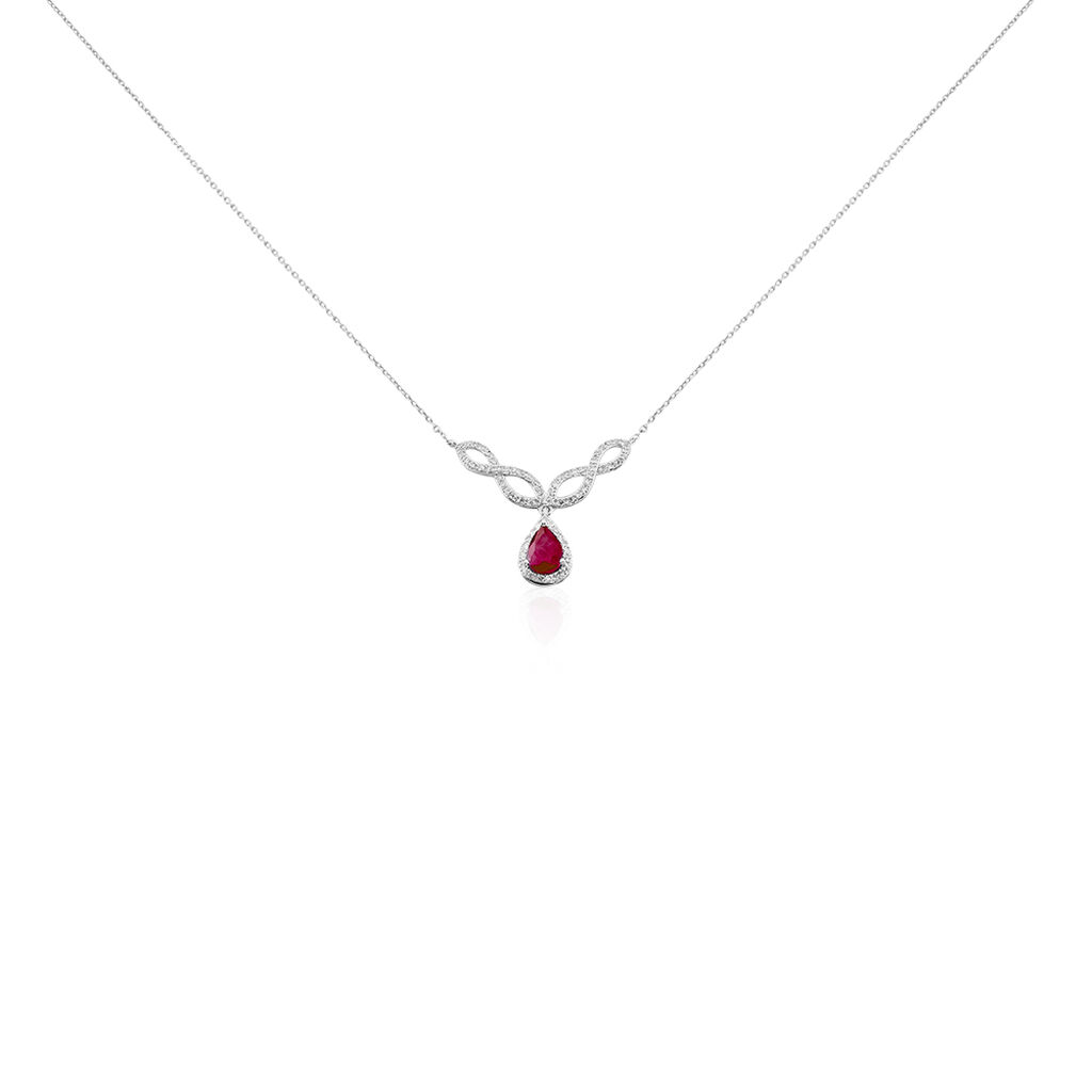 Collier Sissi Or Blanc Diamant Et Rubis - Colliers Infini Femme | Histoire d'Or