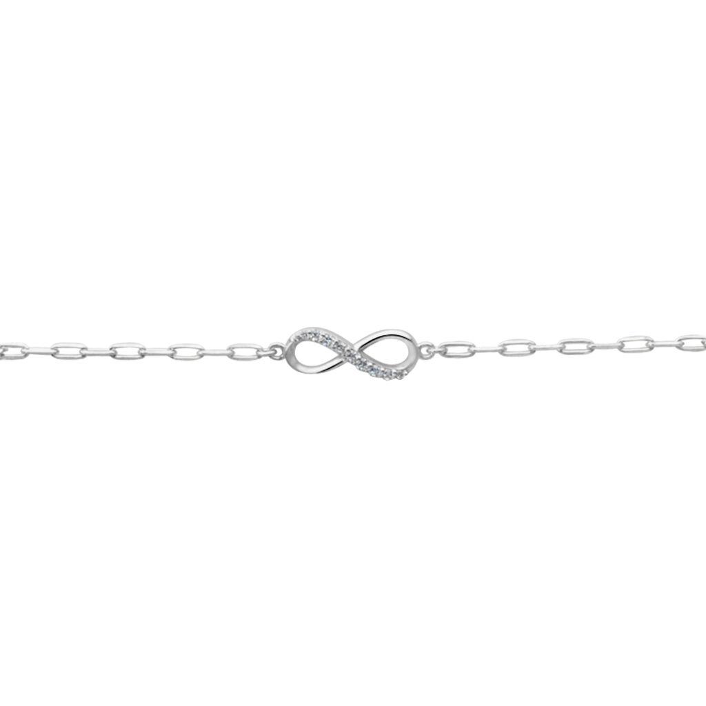 Bracelet Bastin Argent Blanc Oxyde De Zirconium - Bracelets Infini Femme   Histoire d'Or