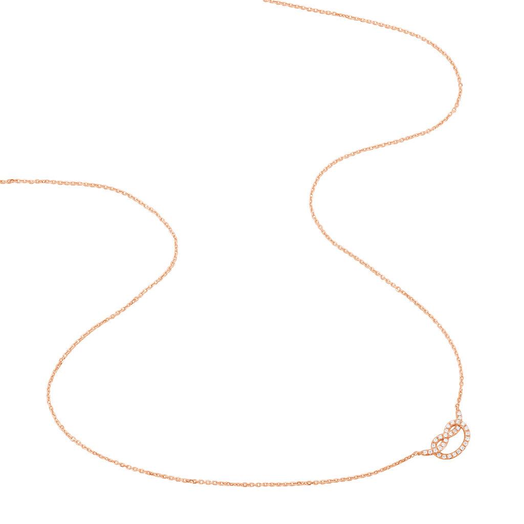 Collier Anfel Or Rose Nœud Pavage Oxydes - Bijoux Femme | Histoire d'Or