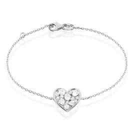 Bracelet Valentine Argent Blanc Oxyde De Zirconium - Bracelets Coeur Femme | Histoire d'Or