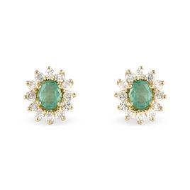 Boucles D'oreilles Puces Vladimir Or Jaune Emeraude Et Diamant - Clous d'oreilles Femme | Histoire d'Or