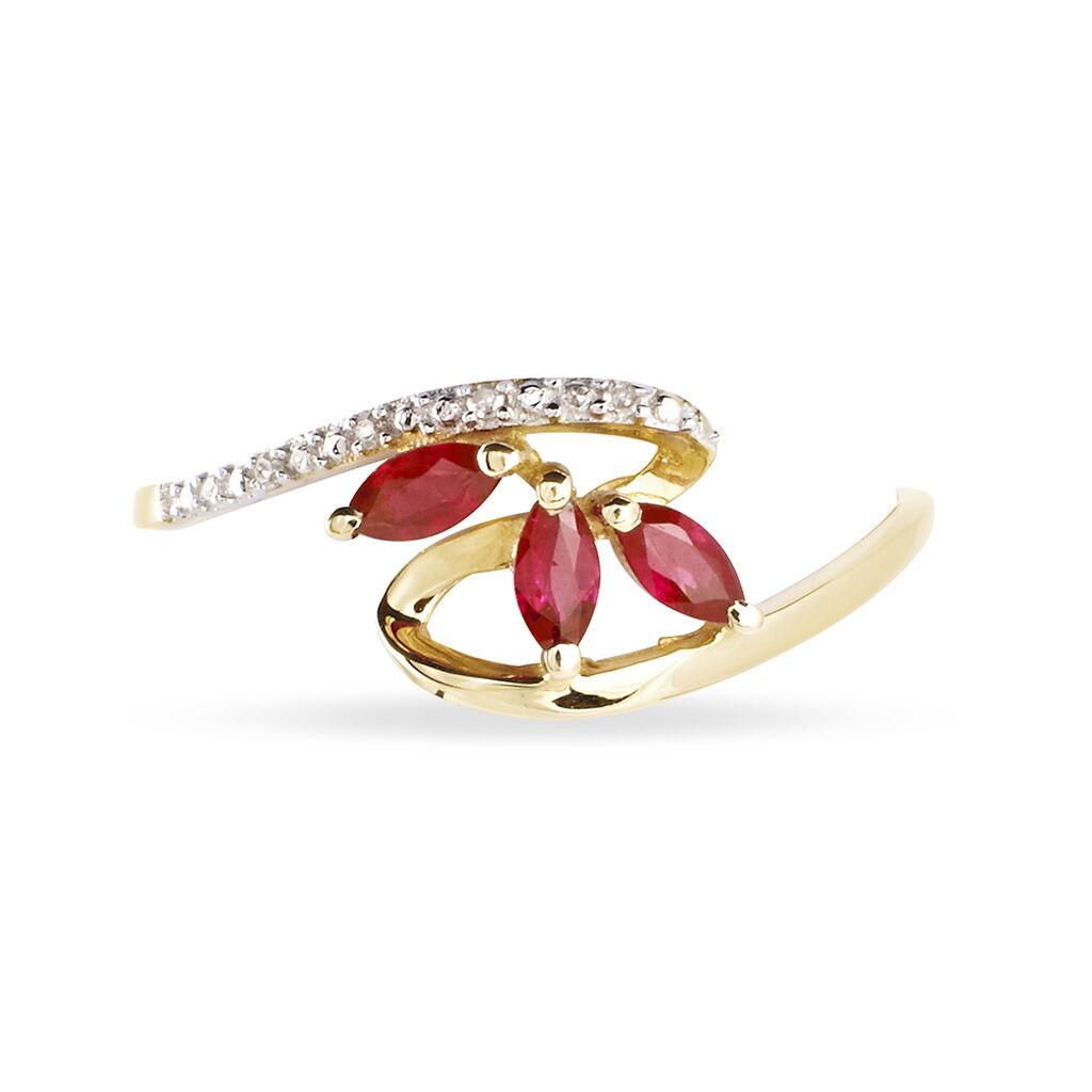 Bague Naceira Or Bicolore Rubis Et Diamant - Bagues avec pierre Femme   Histoire d'Or