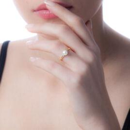 Bague Andromaque Or Jaune Diamant Et Perle De Culture - Bagues Coeur Femme | Histoire d'Or