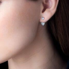 Bijoux D'oreilles Zeren Or Blanc Oxyde De Zirconium - Boucles d'Oreilles Coeur Femme | Histoire d'Or