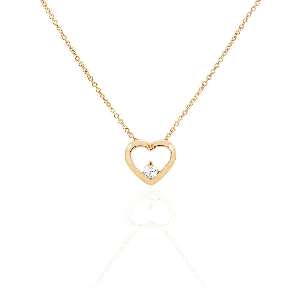 Collier Guilliane Plaque Or Jaune Oxyde De Zirconium - Colliers Coeur Femme | Histoire d'Or