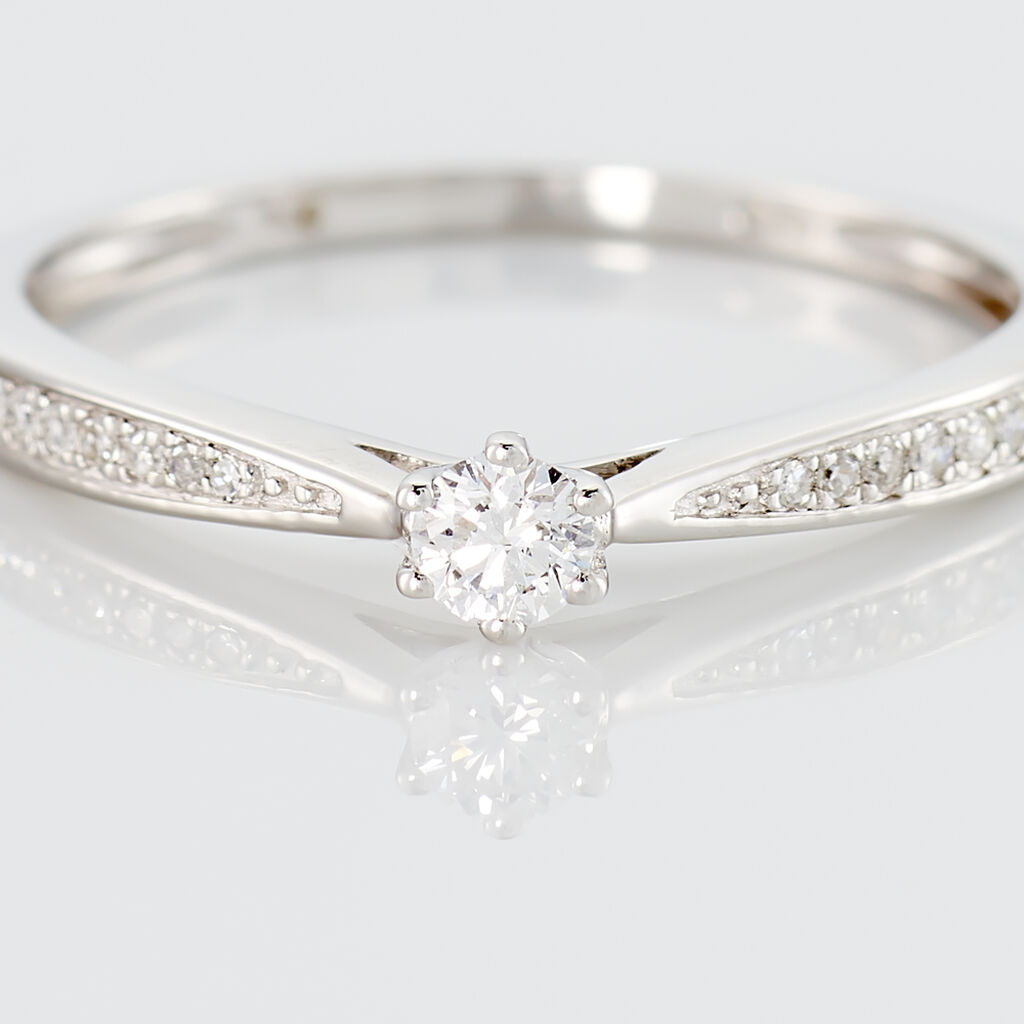Bague Solitaire Symphonie Or Blanc Diamant