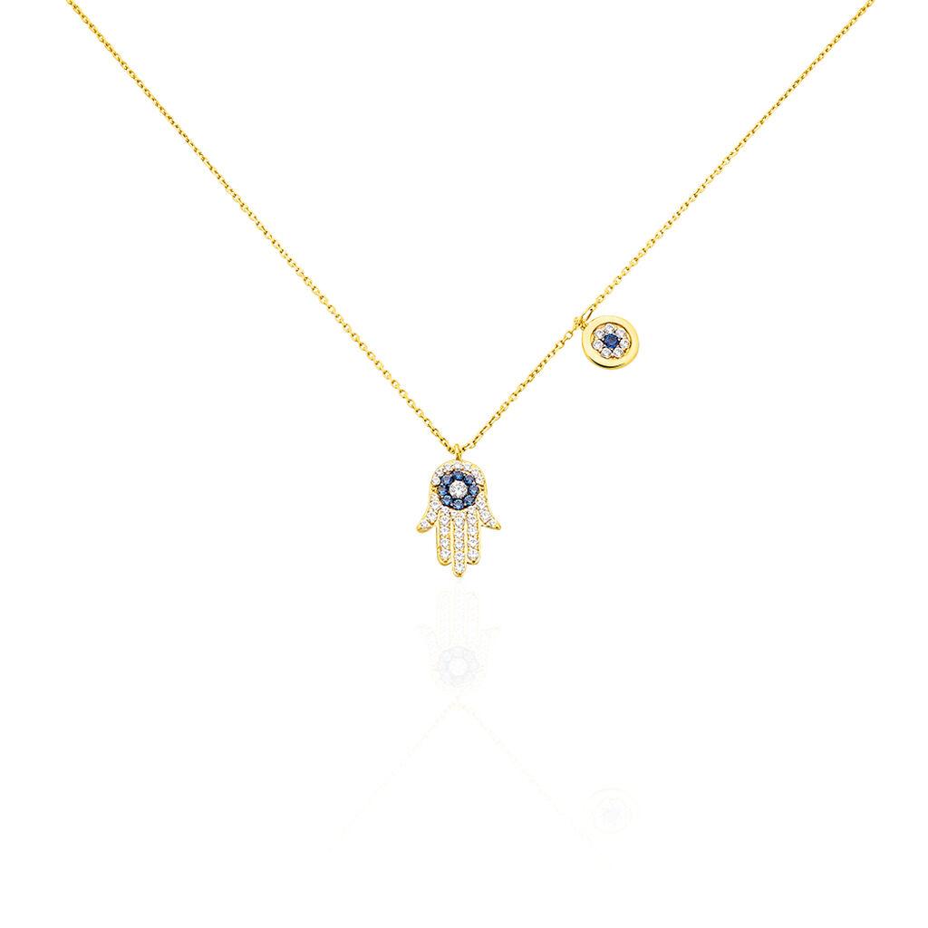 Collier Belle Or Jaune Oxyde De Zirconium - Colliers Main de Fatma Femme   Histoire d'Or