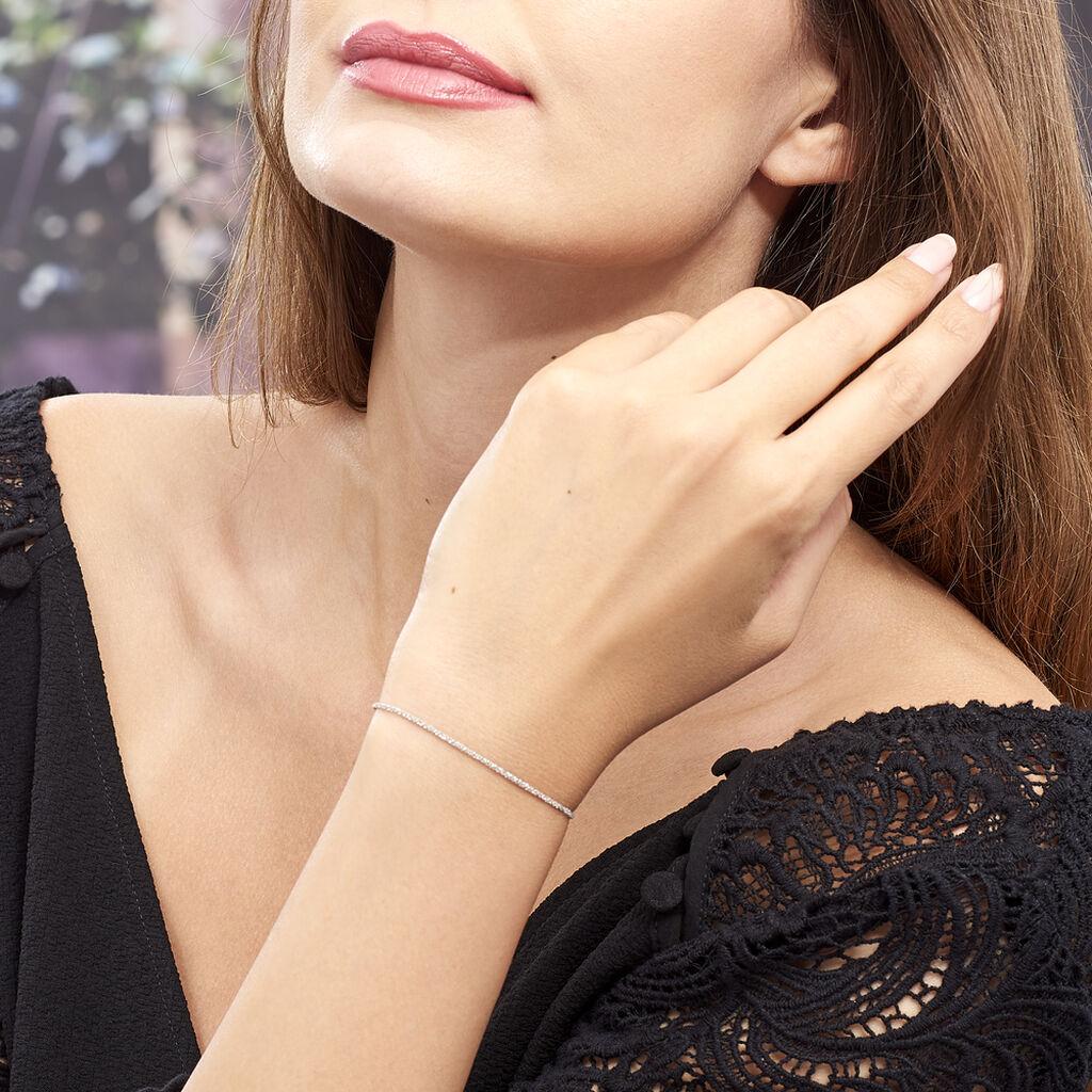 Bracelet Cherame Maille Criss Cross Argent Blanc - Bracelets chaîne Femme | Histoire d'Or