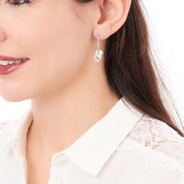 Boucles D'oreilles Pendantes Munia Argent Blanc - Boucles d'Oreilles Coeur Femme | Histoire d'Or