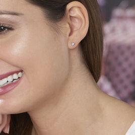 Boucles D'oreilles Puces Charlyne Argent Blanc Oxyde De Zirconium - Boucles d'oreilles fantaisie Femme   Histoire d'Or