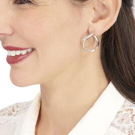 Créoles Lia Vrillees Argent Blanc - Boucles d'oreilles créoles Femme | Histoire d'Or