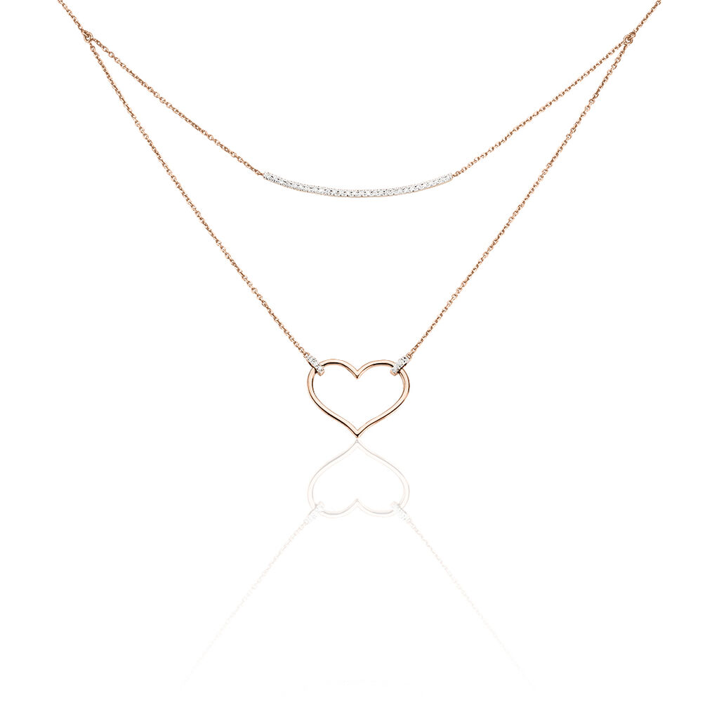 Collier Laila Or Rose Diamant - Colliers Coeur Femme   Histoire d'Or