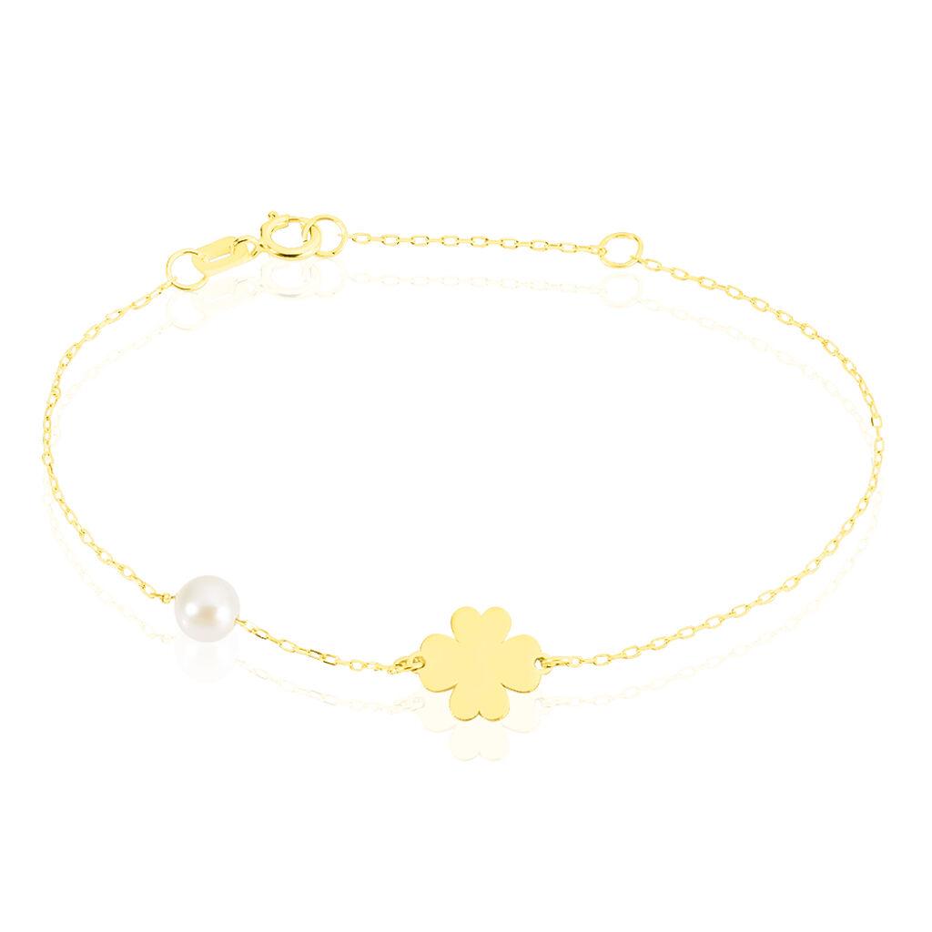 Bracelet Trefle Or Jaune Perle De Culture - Bracelets Naissance Enfant   Histoire d'Or