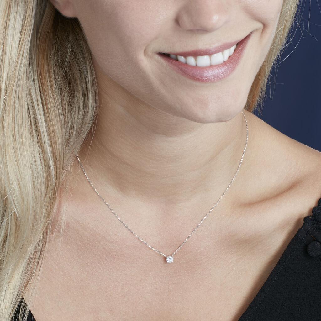 Collier Collection Victoria Or Blanc Diamant Synthetique - Bijoux Femme   Histoire d'Or