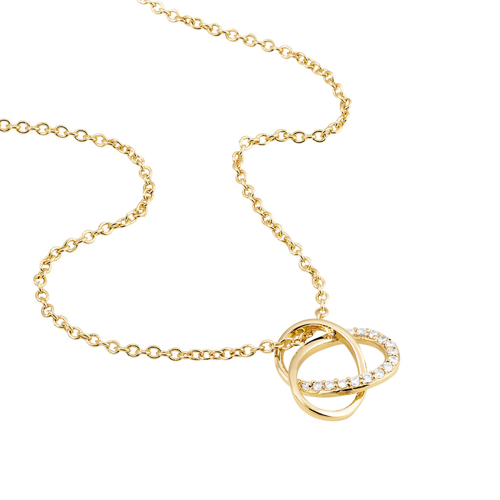 Collier Henia Plaque Or Jaune Oxyde De Zirconium - Colliers fantaisie Femme   Histoire d'Or