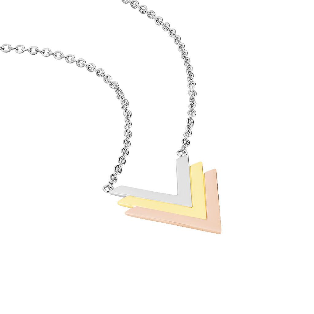 Collier Eleora Acier Tricolore - Colliers fantaisie Femme   Histoire d'Or