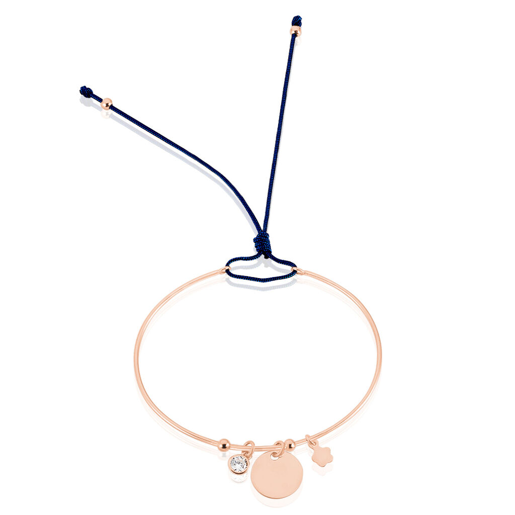 Bracelet Jonc Ravenna Argent Rose Oxyde De Zirconium - Bracelets cordon Femme | Histoire d'Or