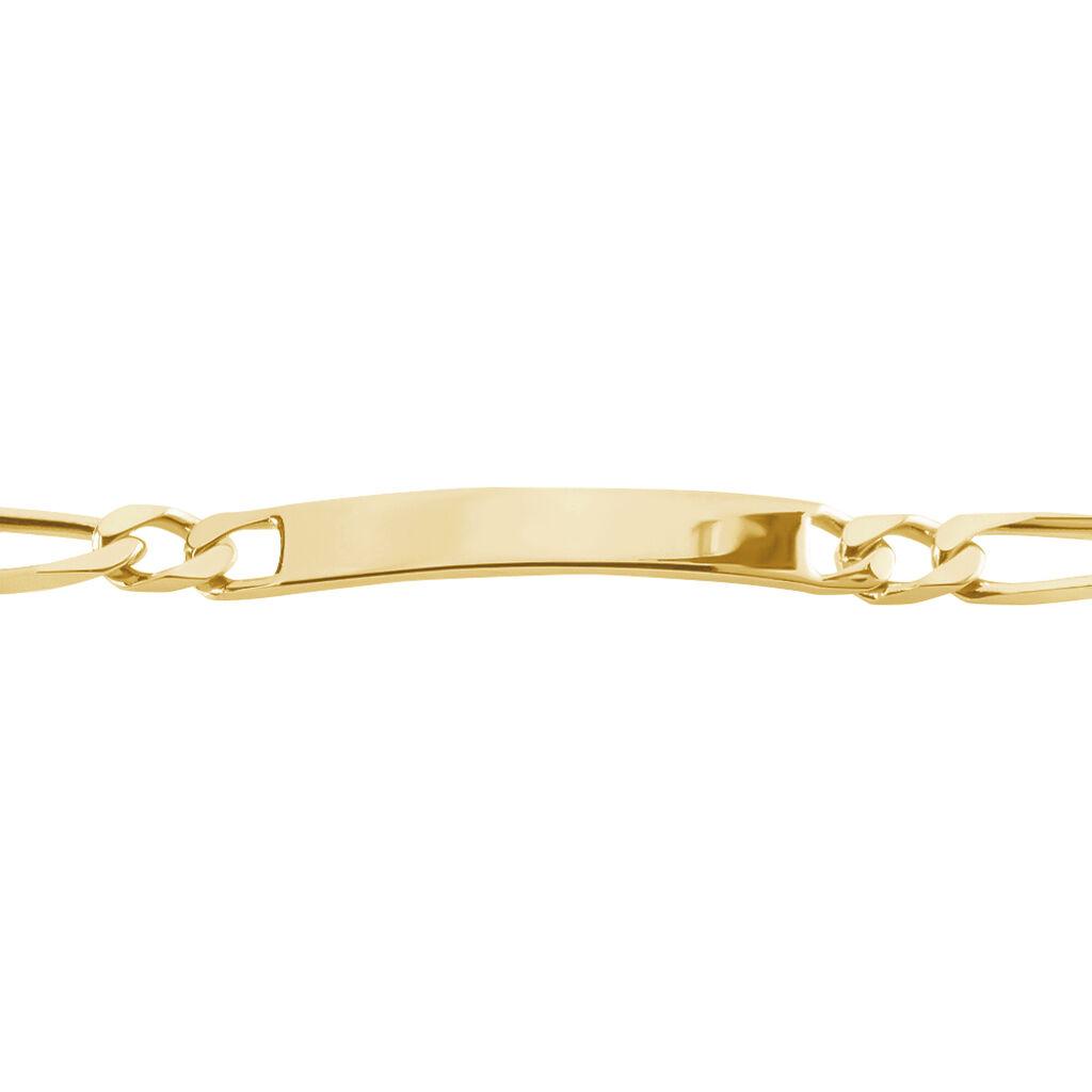 Bracelet Identité Bixente Alternee 1/3 Plaque Or Jaune - Gourmettes Homme   Histoire d'Or