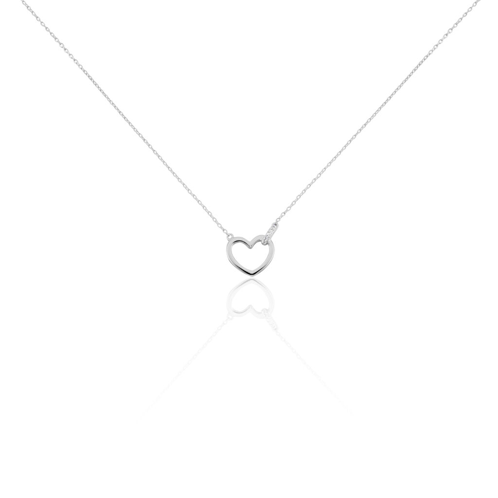 Collier Ingerid Or Blanc Diamant - Colliers Coeur Femme   Histoire d'Or