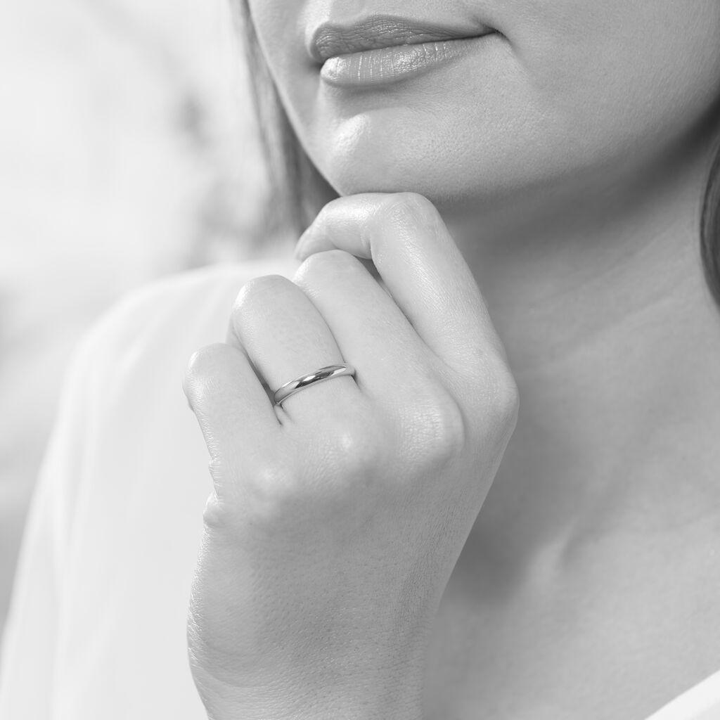 Alliance Celestin Demi Jonc Bombé Palladium Blanc - Alliances Femme   Histoire d'Or