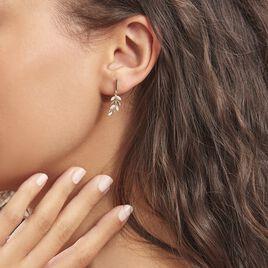 Boucles D'oreilles Pendantes Nahia Or Jaune Oxyde De Zirconium - Boucles d'Oreilles Plume Femme   Histoire d'Or