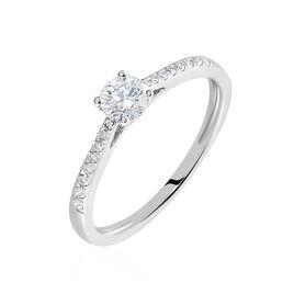 Solitaire Or Blanc Laetitia Diamant Synthetique - Bagues avec pierre Femme   Histoire d'Or