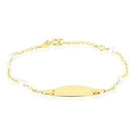 Bracelet Identité Gaspardine Maille Forcat Or Jaune Perle De Culture - Bracelets Communion Enfant | Histoire d'Or