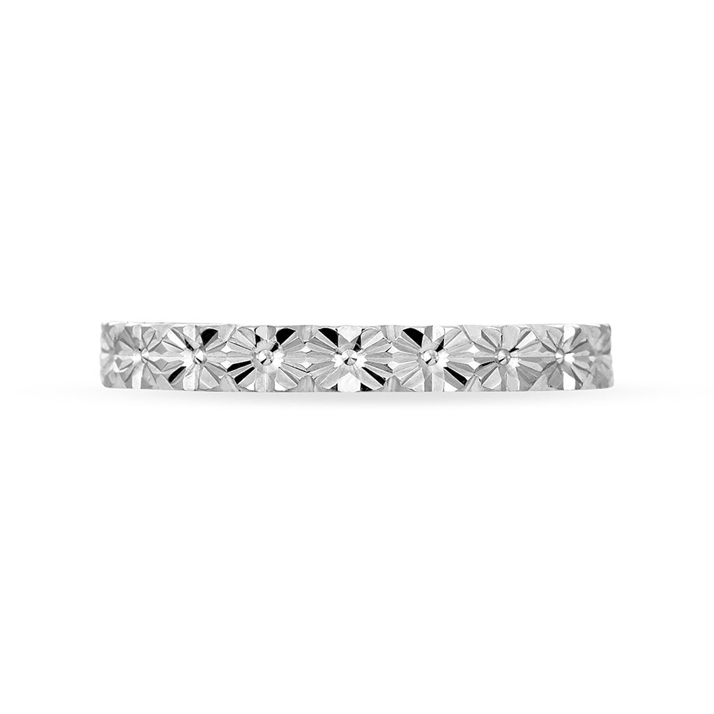 Alliance Fleur Diamantee Ruban Plat Or Blanc - Alliances Femme   Histoire d'Or