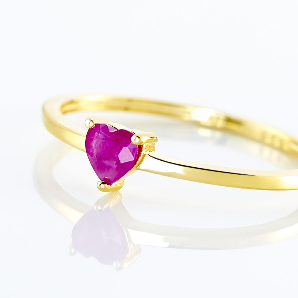 Bague Lissounia Or Jaune Rubis - Bagues Coeur Femme   Histoire d'Or