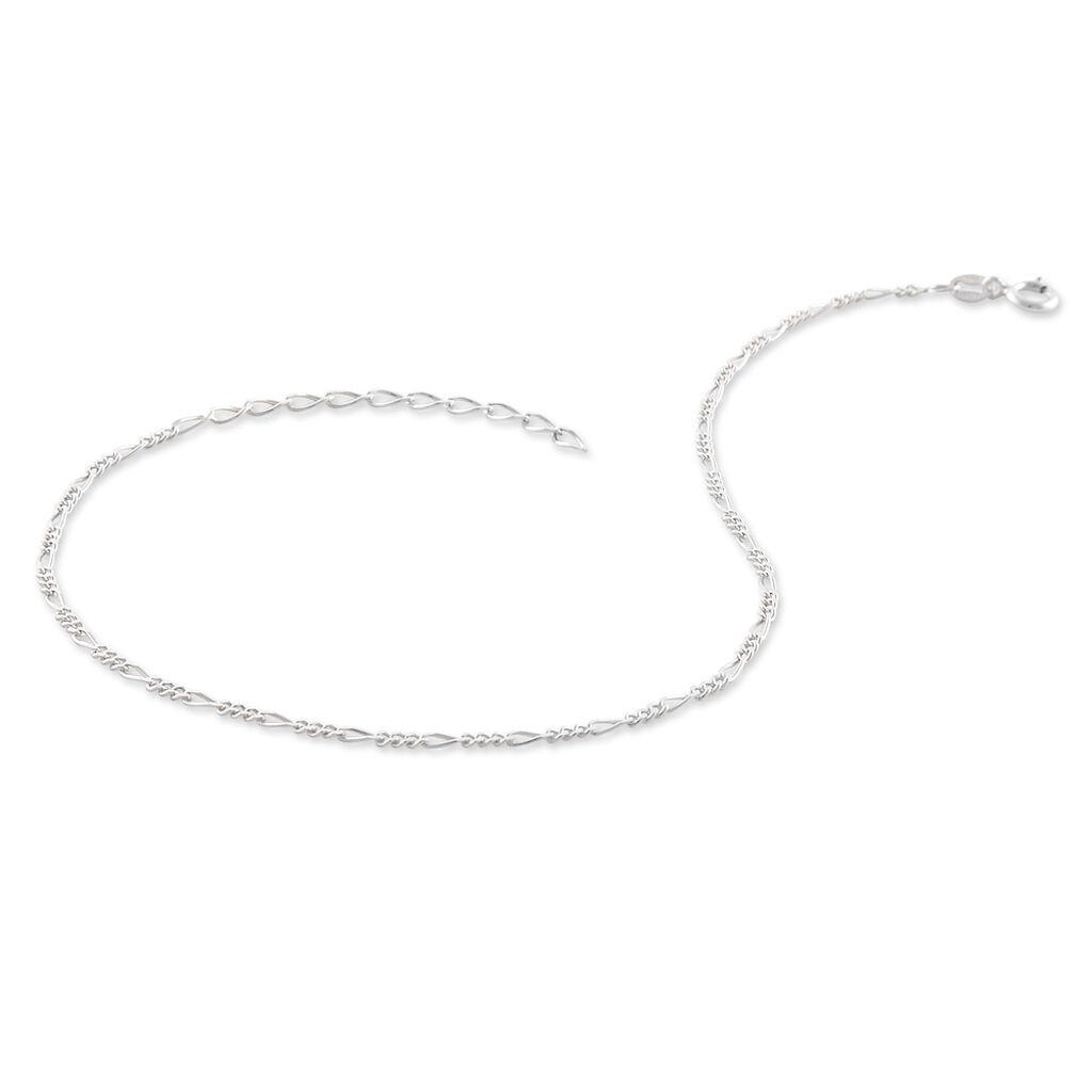 Chaîne De Cheville Cleona Maille Alternee 1/3 Argent Blanc - Chaînes de cheville Femme | Histoire d'Or