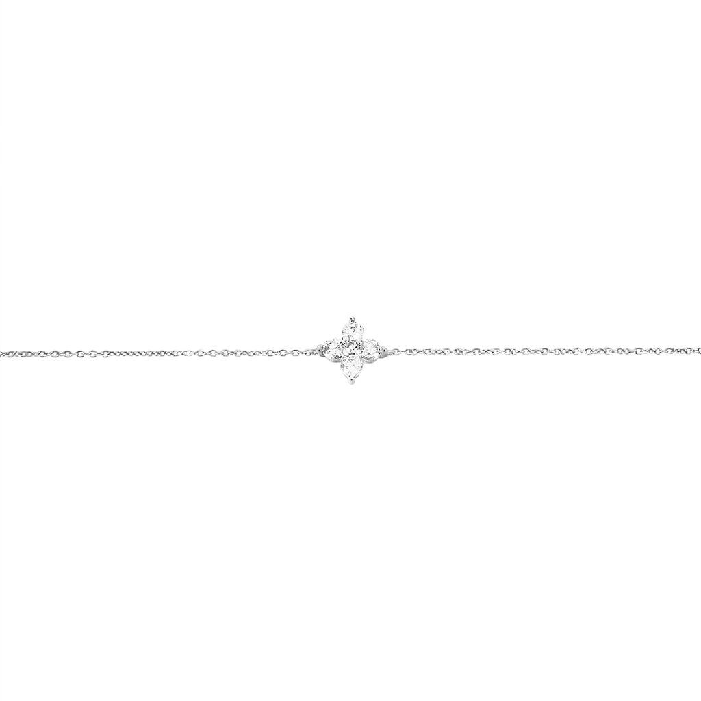 Bracelet Winter Flower Or Blanc Oxyde De Zirconium - Bracelets Trèfle Femme   Histoire d'Or