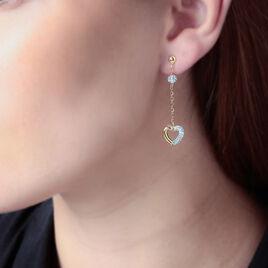 Boucles D'oreilles Puces Laurentia Or Jaune Strass - Boucles d'Oreilles Coeur Femme | Histoire d'Or