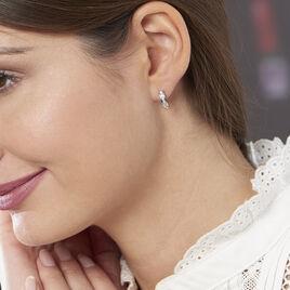 Créoles Tuna Rondes Argent Blanc Oxyde De Zirconium - Boucles d'Oreilles Coeur Femme | Histoire d'Or
