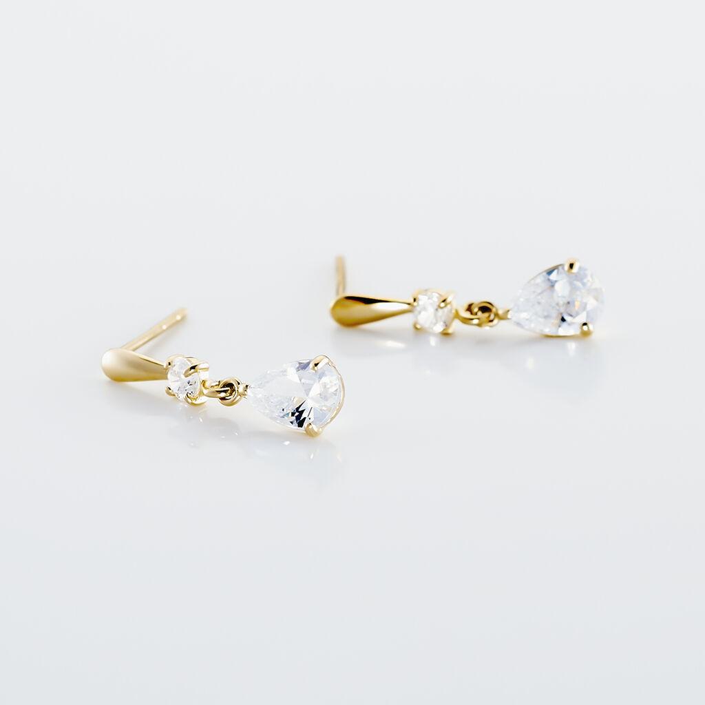 Boucles D'oreilles Pendantes Goutte Or Jaune Oxyde De Zirconium - Boucles d'Oreilles Lune Femme | Histoire d'Or