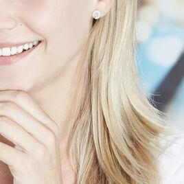 Boucles D'oreilles Puces Vaea Argent Blanc - Boucles d'oreilles fantaisie Femme | Histoire d'Or