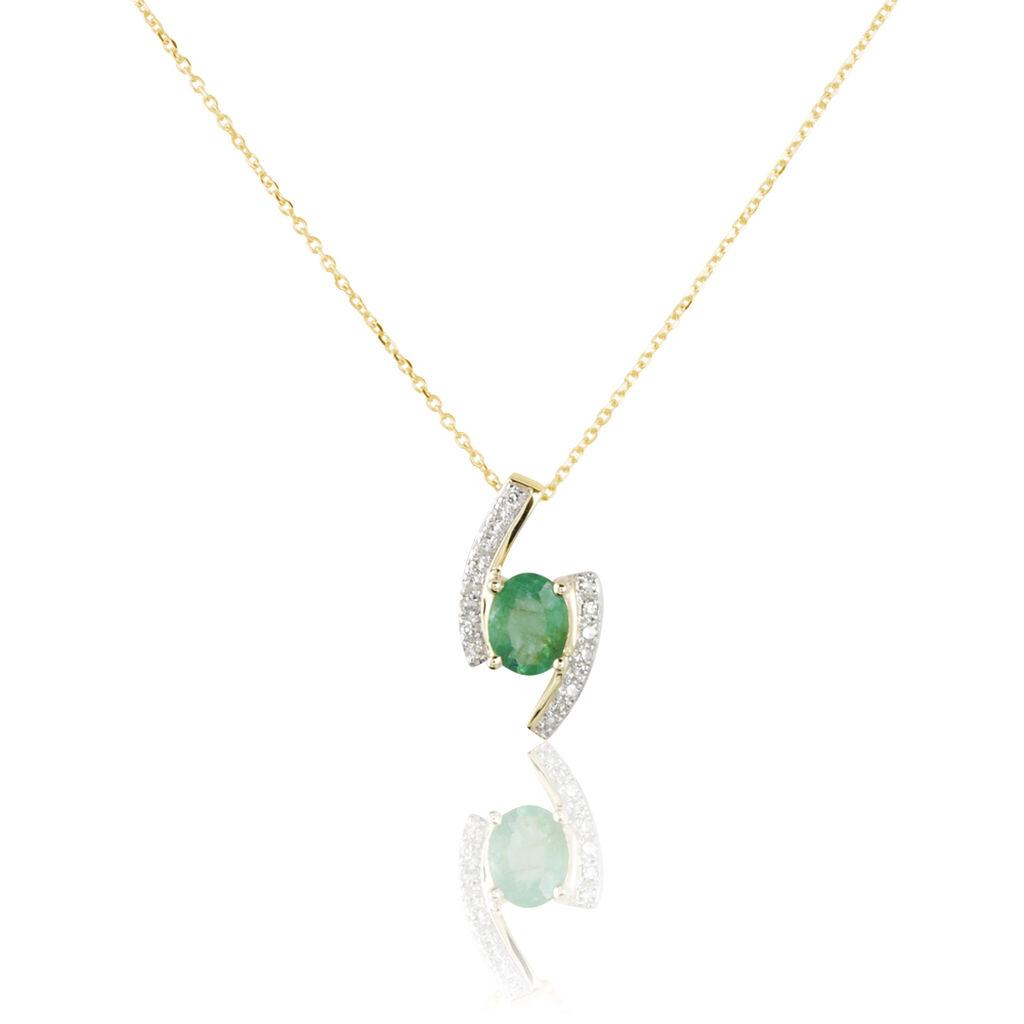 Collier Or Jaune Emeraude Et Diamant - Bijoux Femme   Histoire d'Or