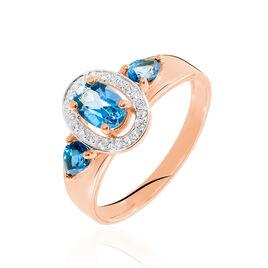 Bague Arleen Or Rose Topaze Diamant - Bagues solitaires Femme   Histoire d'Or