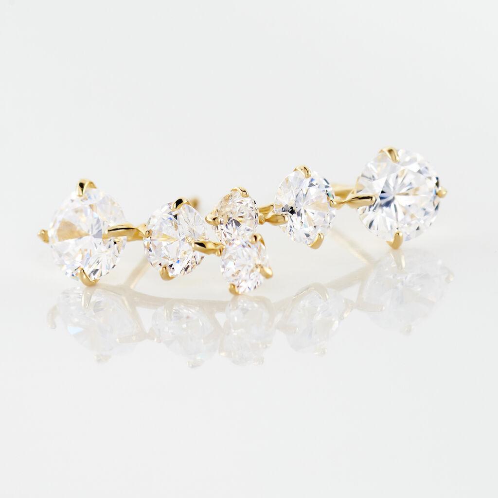 Bijoux D'oreilles Raffaele Or Jaune Oxyde De Zirconium - Boucles d'Oreilles Coeur Femme   Histoire d'Or