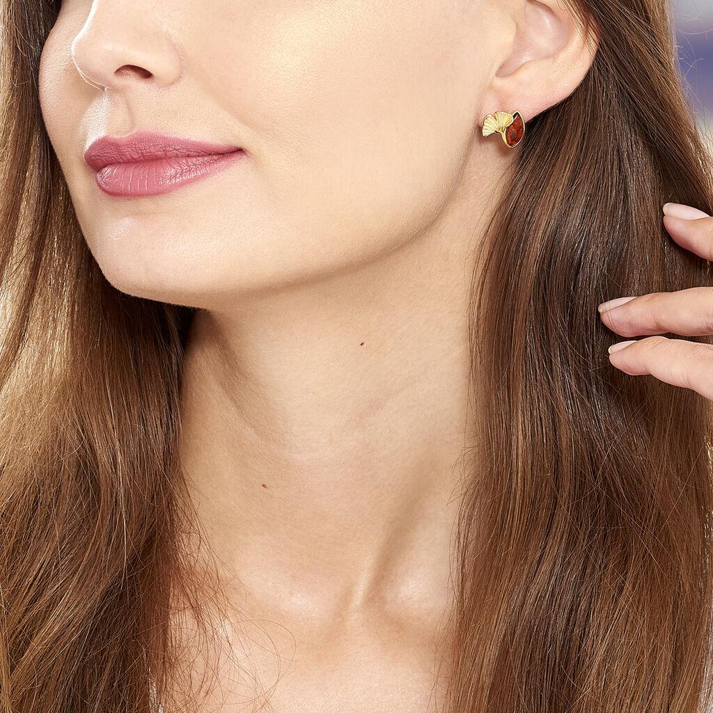 Boucles D'oreilles Puces Adriaa Argent Jaune Ambre - Boucles d'oreilles fantaisie Femme | Histoire d'Or